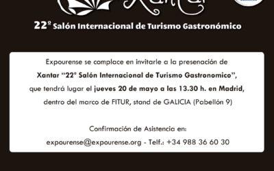Presentación de Xantar 2021 en Fitur, xoves 20 de maio ás 13.30 h. no stand de Turismo de Galicia